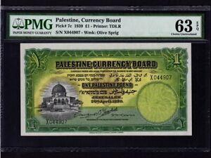 Palestine Currency Board:P-7c,1 Pound,1939 * Israel * PMG Ch. UNC 63 EPQ *