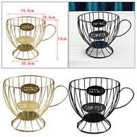 Vintage Large Capacity Iron Coffee Pod Holder Keeper K Cup Storage Basket