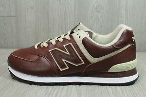 67 New Balance 574 Classics Dark Brown Leather 10.5 Medium ML574LPB Men's Shoes