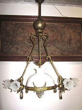 H.Luppens&C Jugendstil Messing-Glas Putten Kronleuchter, Lüster aus 1870