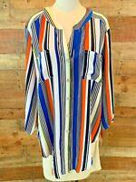 New~$67~RUBY ROAD WOMAN 2X Plus Blue/Black-Stripe 3/4-Sleeve Button-Shirt Top