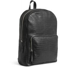Herren Premium Leder Rucksack von still nordic im Croco Design schwarz neu