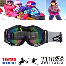 New Kids Boys Girls Ski Snow Snowboard GOGGLES - Black Frame with Tinted Lens