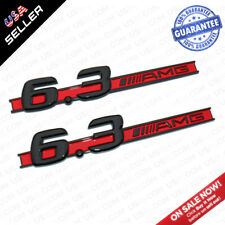 2x Black Red OEM ABS 6.3 AMG Emblem Fender Logo Badge Nameplate Decoration Sport