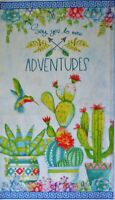 """By the Panel 23""""x 44"""" 100% cotton fabric Wilmington Humming Along bird cactus"""