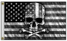 American Black & White Usa Skull Cross Bones 3 X 5 Biker Deluxe Flag #775 New
