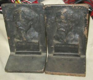 Vintage Charles Dickens Cast Iron Bookends