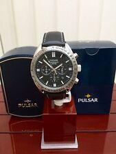 PULSAR por SEIKO Reloj para hombres Cuero Negro Cronógrafo RRP £ 150 (pu32)