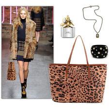 Hot Leopard Grain Printed Canvas Women Large Handbag Tote Shoulder Bag Purse