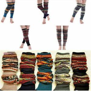 Knit Boot Warmer Socks Crochet Fair Isle Winter Knee High Leg Warmers Leggings