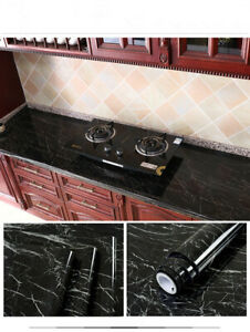 Black Marble Gloss Film Vinyl Self Adhesive Countertop Table Oilproof Sticker