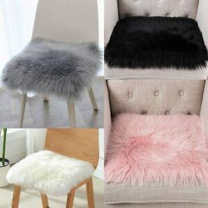 Weiß Grau Square Kunstpelz Schaffell Kissen Stuhlauflage Sitzunterlage 40x40cm