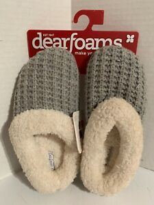 Dearfoams Size Small (5-6) Grey Knit Clog Faux Fur Cuff Memory Foam Slippers