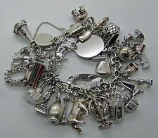 Vtg Sterling Silver Charm Bracelet Loaded 37 Charms 104 Gr Lake Louise Jasper
