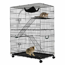 2-Tier Cat Playpen Cat Cage with 2 Climbing Ladders & 2 Rest Benches & Hammock