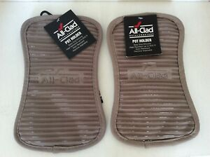 All-Clad Deluxe Heat & Stain Resistant Pot Holders, Set of 2, Titanium color,NWT