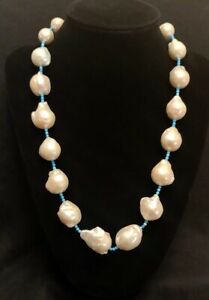 "RARITIES Cultured Baroque Freshwater Pearl & Turquoise Howlite 20-1/2"" Necklace"