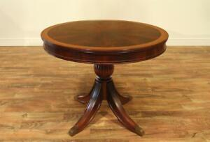 """48"""" Round Pedestal Table with Self-storing Leaf ~ Mahogany Finish"""