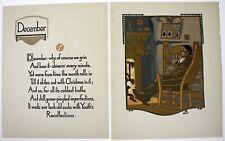 GUSTAV BAUMANN Color Woodblock Print Lithograph DECEMBER Beautiful Condition!