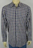 Zanella Blue Check Plaid L/S Btn Front Luxury Dress Shirt For Work Mens Lg ITALY