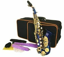 Curved SOPRANO SAXOPHONE Sax  Blue Finish with Gold Keys Free Case & Accessories
