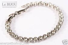 LE BIJOU rhodiniertes Tennis Armband mit Swarovski Kristallen Crystal / Silber