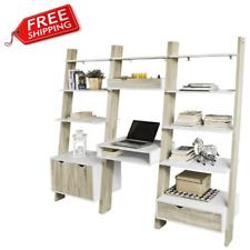 Wooden Set Wall Desk Storage Rack Display Ladder Shelf Drawer Living Room Modern
