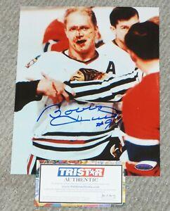BOBBY HULL Blood Signed CHICAGO BLACKHAWKS 8x10 Photo + TRISTAR COA #7175346