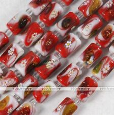 1 Strand Red White Flower Column Ceramic Lampwork Glass Loose Beads Jewelry DIY