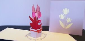 Colourful Flowers Pot 3D Pop Up Card.(Mother's day,Birthday, Thank you or all oc