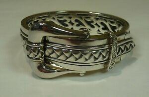 Scott Kay Sterling Silver 0.25ct.tw Diamond Equestrian Wide Buckle Bracelet 93gr