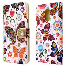 FOR LG STYLO 4 COLORFUL BUTTERFLY DIAMANTE FLIP JACKET WALLET CASE COVER