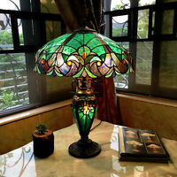 "Vibrant Color Double Lit 24.5"" H Green Table Lamp Stained Glass Light Lamps NEW"