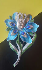 "Statement 3"" VTG Antique Rhinestone & Glass Blue Green Enamel Flower Brooch Pin"