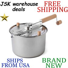 New Wabash Valley Farms 6qt Whirley-Pop Stovetop Popcorn Popper Stainless Steel