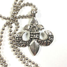Silver Tone Fleur De Lis Pendant And Ball Chain Stainless Steel Royal Order 50cm