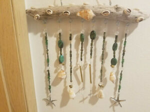 Driftwood and green wind-chime/sun-catcher made in the USA