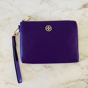 TORY BURCH Landon Solid Purple Soft Leather Zip Large Wristlet Wallet