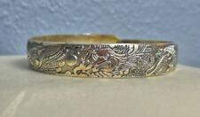 "Tibetian Silver Cuff Bracelet with Dragons 1/2"" Wide Adjustable"