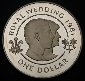 BERMUDA 1 Dollar 1981 Proof - Silver - Wedding of Charles and Diana - 839