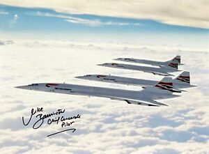 HAND SIGNED 16X12 OF FOUR BRITISH AIRWAYS CONCORDES FLYING TOGETHER