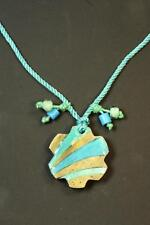 AZTEC UNIQUE BLUE ROPE CHUNKY STONE ABSTRACT NECKLACE UNIQUE HIPPY CHIC(CL15)