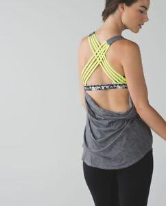 Gray LULULEMON WILD Top-Heathered Slate/Clarity Yellow, BRA!! PERFECT! SIze 12