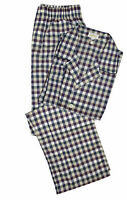 Brioni Men's Blue Brown 100% Cotton Check Pajamas