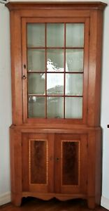"CORNER CABINET, cupboard, cherry, tiger maple, inlaid, Neoclassical, PA, 88""t"