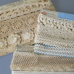 """3 Bolts Vintage French LACE Guipure Embroidered Trims 3/4"""" - 2 1/4"""" Wide * DOLLS"""