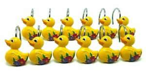 Set of 12 Yellow Duck Flowers Shower Curtain Hooks Hand Painted