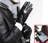 Leather Gloves Full Finger Mens Motorcycle Driving Winter Warm Touch Screen New