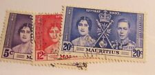 MAURITIUS Sc #208 209 210 Θ used set, 1937 royalty postage stamps, Fine +