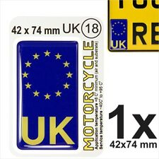 UK euro ES Flag Motorcycles NUMBER PLATE 3D GEL STICKER Resin Domed Badge/Decal